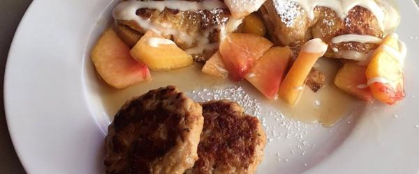 Stuffed Croissant Peach French Toast